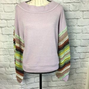 Free People Cha Cha Lilac Balloon Sleeve Sweater